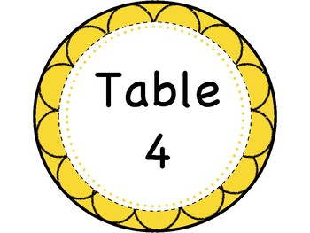 Custom Table Signs (Tables 1-8)