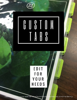 Custom Tabs for planners, interactive notebooks, etc
