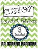 Custom Teacher Binders- Blue and Green Theme