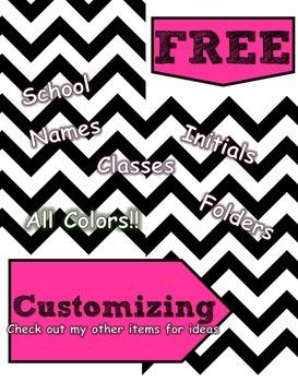 Custom Teacher Binders - Zebra, Black, Chevron, Red