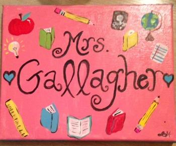 Custom Teacher Sign {Hand Painted on Canvas}