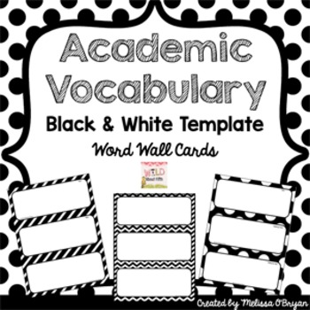 Math & ELA Word Wall Editable Template - Black & White