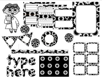 Editable Custom Theme Decor Set  GEARS---black