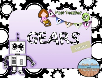 Custom Editable Theme Decor Set  GEARS---white