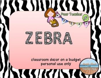 Editable Custom Theme Decor Set  ZEBRA