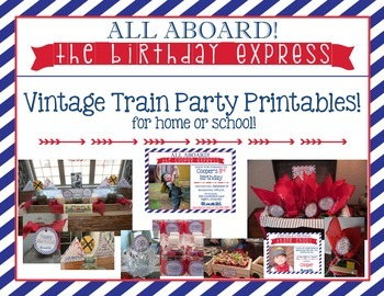 Custom Train Party Set: invitations, Thank You Notes and P