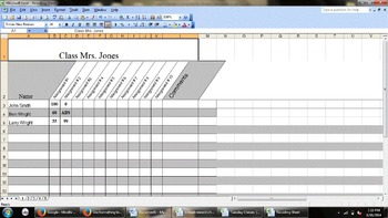 Custom, Typable, Fill in Recording Sheet for Grades, Assig