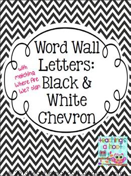 Word Wall Letters - Black & White Chevron FREE