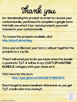 Custom Writing Bundle {Create Your Own!}