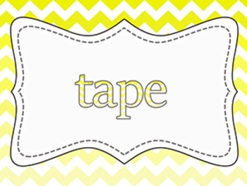 Custom Yellow and Grey Ombre' Chevron Supply Labels ~ Re-sizable {16 pack}
