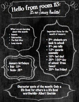 Custom chalkboard newsletter