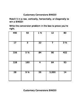 Customary Conversion BINGO