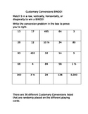 Customary Conversion BINGO