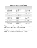 Customary Conversion Charts for students
