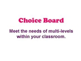 Customary Conversion - Choice Board