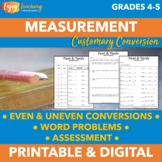 Converting Customary Units of Measurement Word Problems & Worksheets