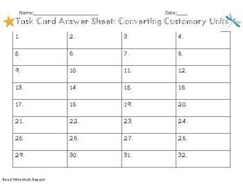 Customary Conversion Task Cards