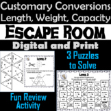 Customary Conversion of Length, Weight and Capacity: Escape Room Math Activity
