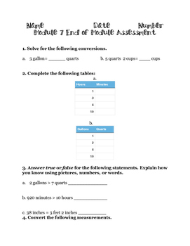 Customary Conversions Assessment: Eureka Math Module 7: 4th Grade