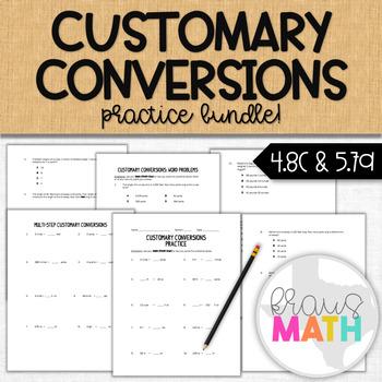 Customary Conversions Bundle Practice- Computation & Word