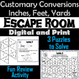 Customary Conversions of Length: Inches, Feet & Yards Escape Room Math Activity