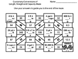 Customary Conversions of Length, Weight and Capacity: Math Maze
