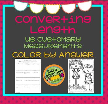 Customary Length Conversions Color By Answer- Self-Checking Measurement Activity