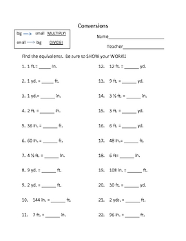 Grade 6 math worksheet - measurement: conversion of customary ...