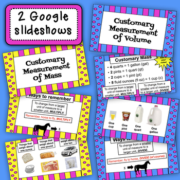 Customary Mass and Volume Task Cards with BONUS Google Slideshow
