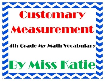 Customary Measurement 4th Grade My Math Vocabulary Posters