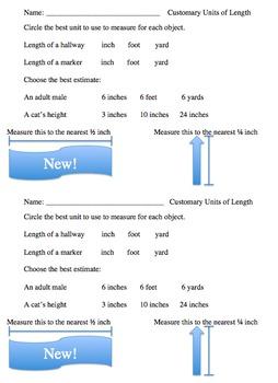 Customary Measurement Assessment Pack