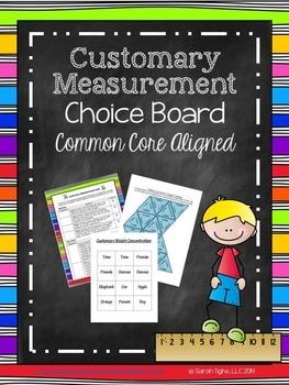 Customary Measurement Choice Board (Common Core Aligned)