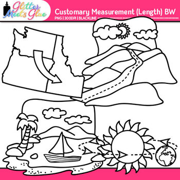 Customary Length Clip Art | Measurement Tools for Math Resources | B&W
