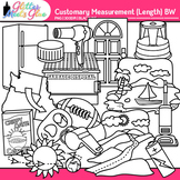 Customary Length Clip Art {Measurement Tools for Math} B&W