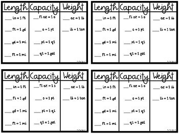 Customary Measurement Conversion Notes