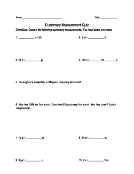 Customary Measurement Conversion Quiz