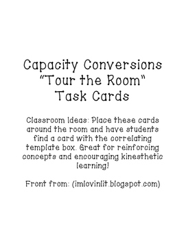 "Customary Measurement Conversion Task Cards ""Tour the Room"