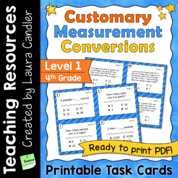 Customary Measurement Conversions Task Cards Level 1 (Printable)