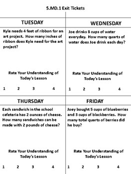 Customary Measurement Daily Exit Tickets