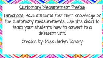 Customary Measurement Freebie