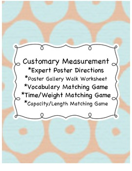 Customary Measurement Poster Activity and Matching Games