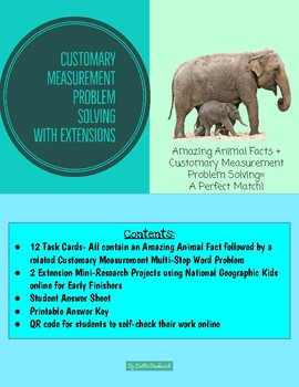 Customary Measurement Problem Solving Task Cards & Enrichment with Animal Facts