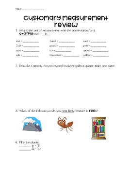 Customary Measurement Review/Quiz