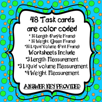 Customary Measurement Task Cards and 10 *NO PREP Worksheets & Conversion Chart