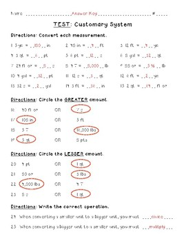 Customary Measurement Test {5th Grade Common Core}