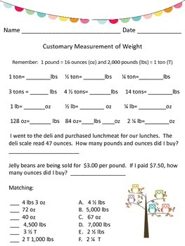 Customary Measurement of Weight Conversion