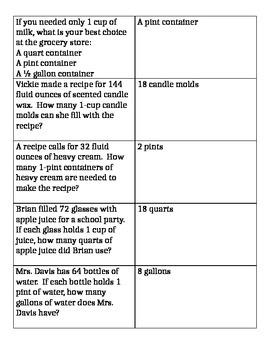 Customary Measurements- Capacity Quiz Quiz Trade