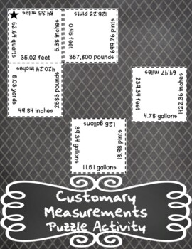 Customary Measurements Conversions Puzzle