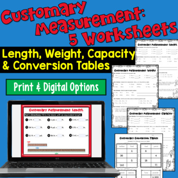 customary measurements worksheets length weight capacity conversion tables