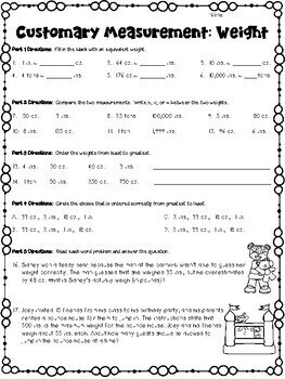 Customary Measurements Worksheets Length Weight Capacity